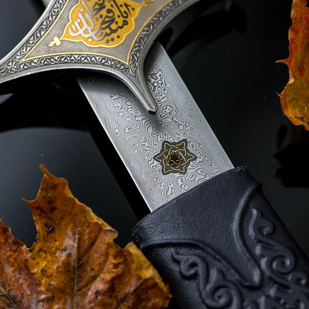 Zulfikar arabic sword with sheath of damascus steel blade