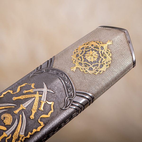 Exclusive sheath of the arabic sword. Fine handmade. The scabbard is plated with precious metal of platinum group and gold