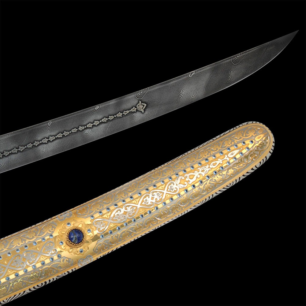Damascus blade and gold scabbard decorated with stones and crystals