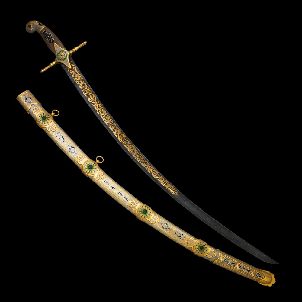 Exclusive handmade arabic sword made of precious materials.