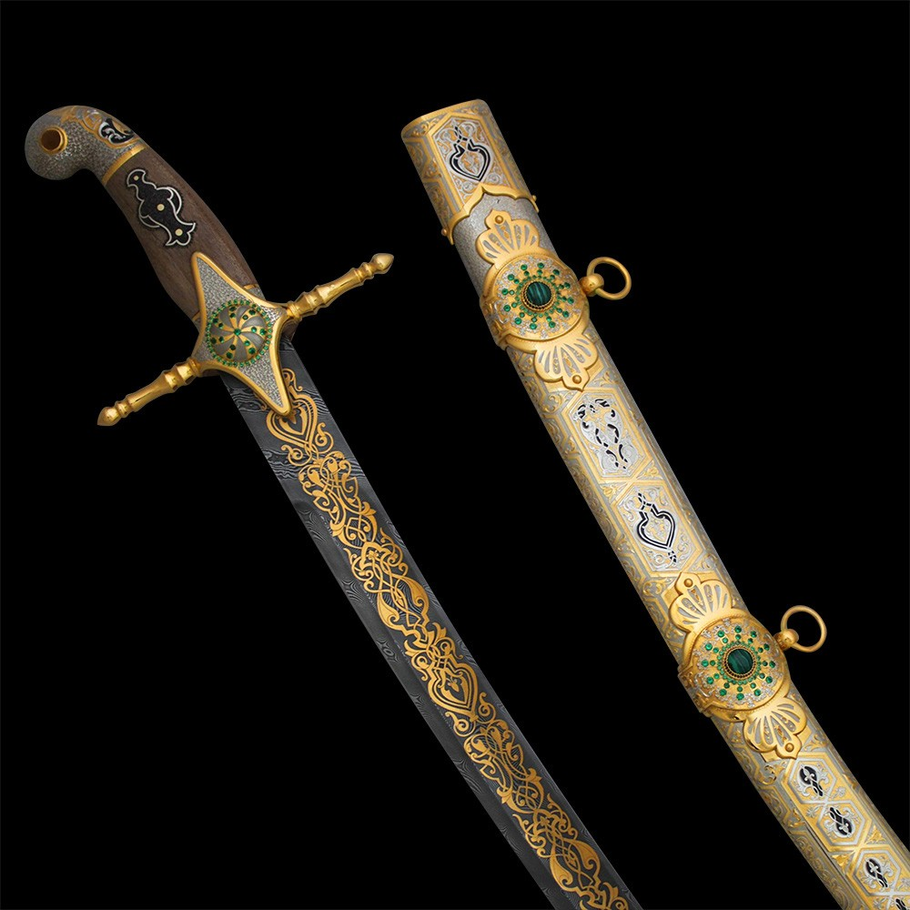 Davis steel arabic sword adorned with gold and green stones