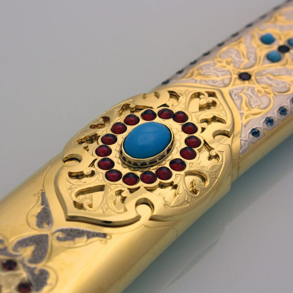 Inlaid stones in the sheath of the arab sword - shamshir