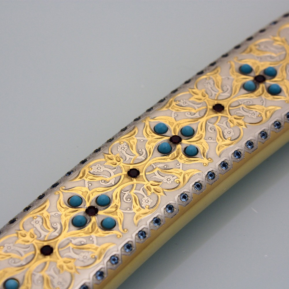 Scabbard of arabic sword decorated with gold and silver