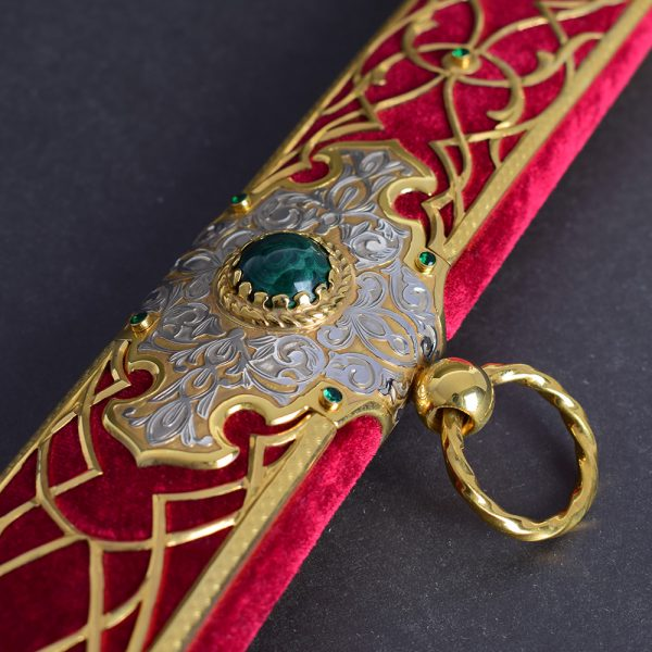 Saber scabbard decorated with crystals and stones of green malachite
