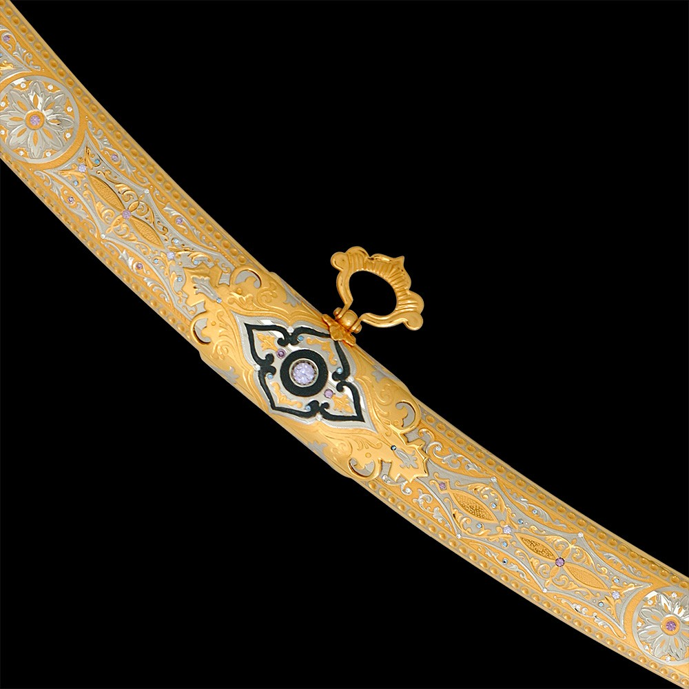 Gold scabbard saber with a ring for attaching to a strap