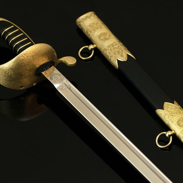 Souvenir sword with a direct blade made of high alloy steel