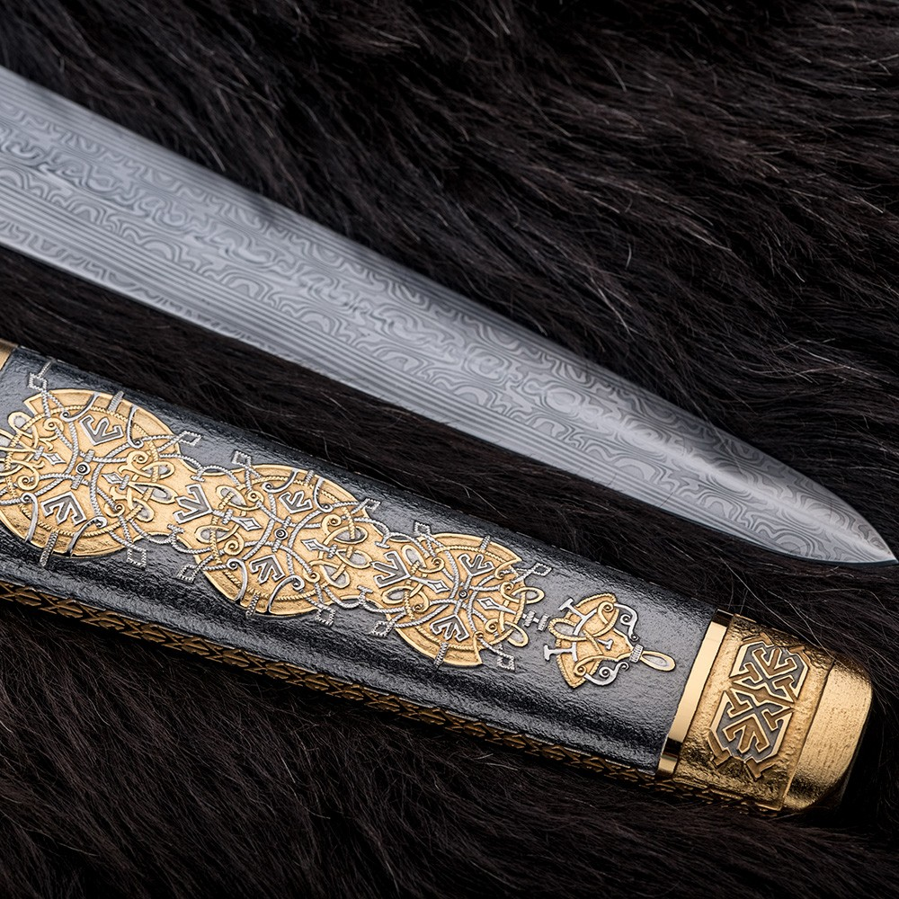 Scabbard of a sword with a Slavic ornament of gold and rhodium