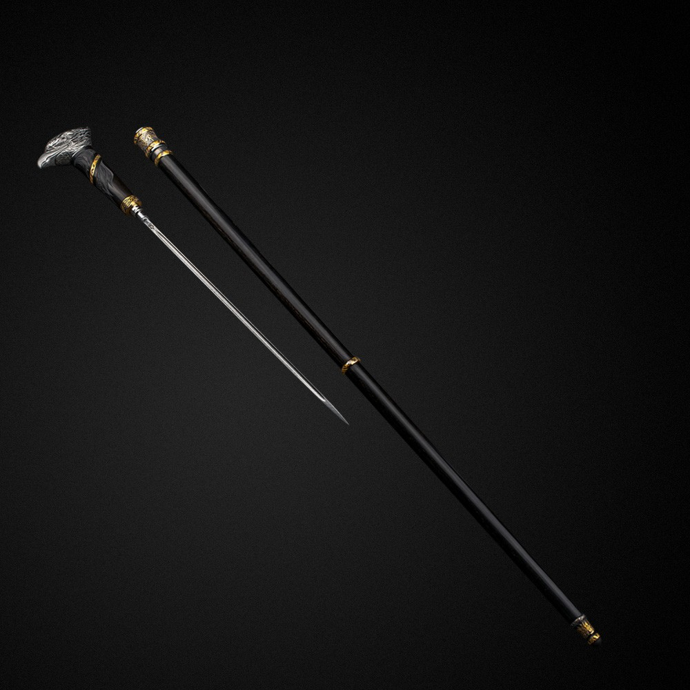 The stiletto is hidden inside the cane, its blade does not have final sharpening and strong fastening in the hilt, therefore this cane is a souvenir weapon. The shaft (trunk) and the tip of the cane are made of ebony precious wood decorated with ornaments and garnets