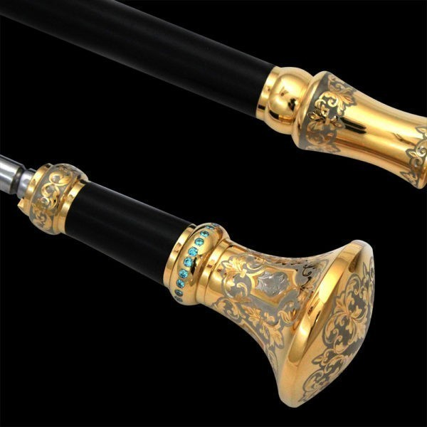 Blue crystals in the handle of a stylish cane