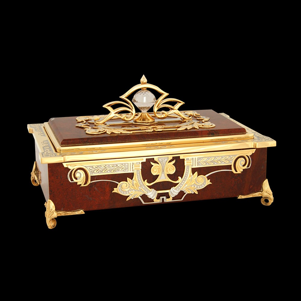 Souvenir stone box for money. Handwork of Russian stone cutters.