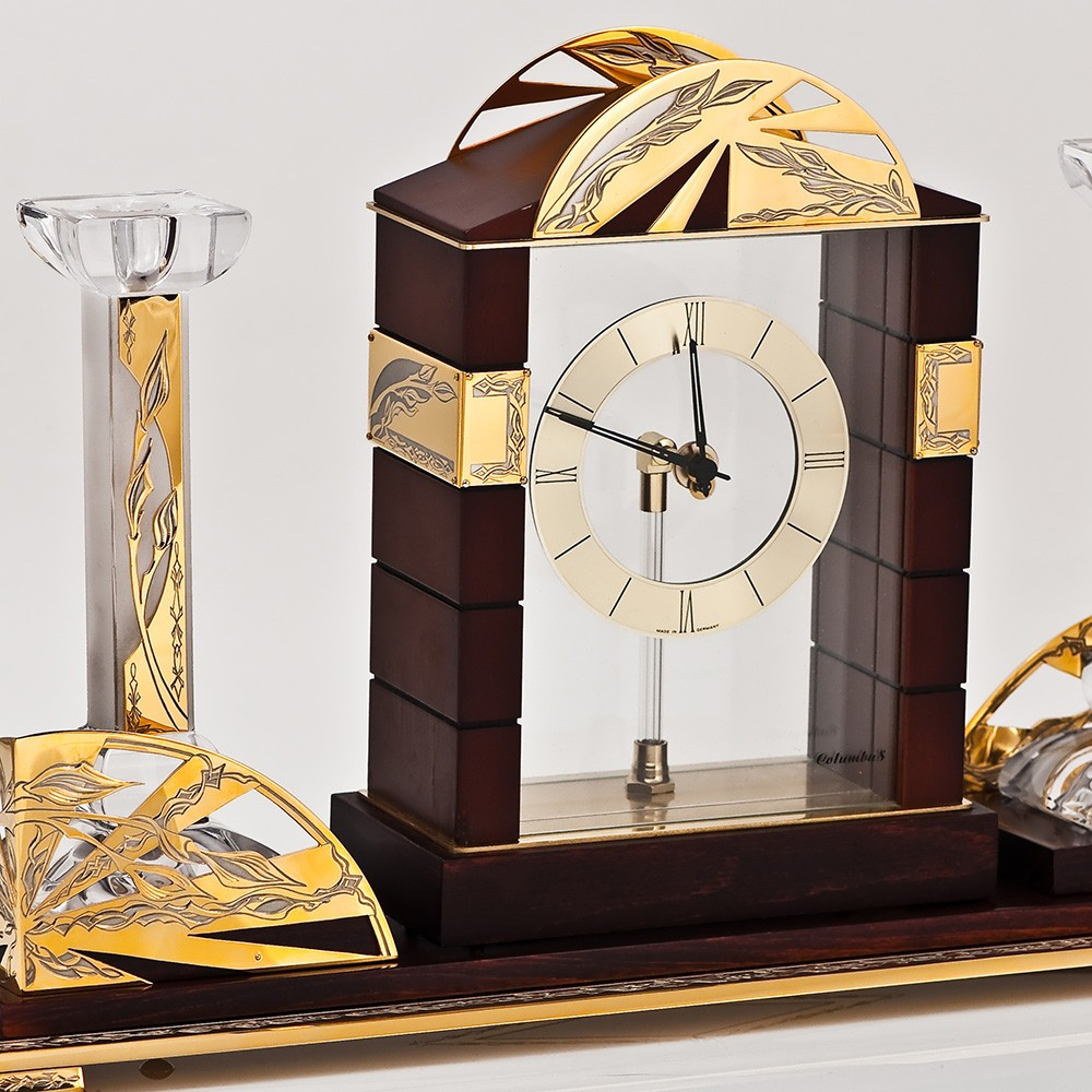 Wooden watch with a crystal candlestick - time and fire forever