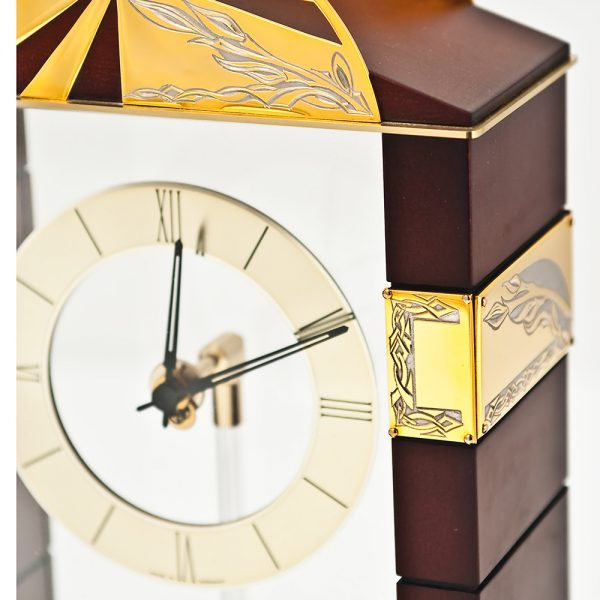 Luxury wood and glass desk clock