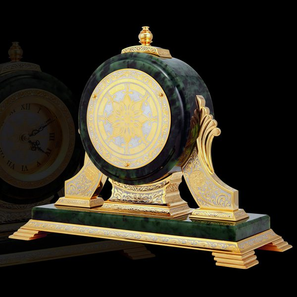 Large jade cabinet clock