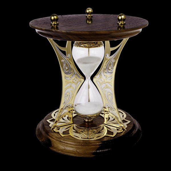 Luxury hourglass with wooden base and gold mount