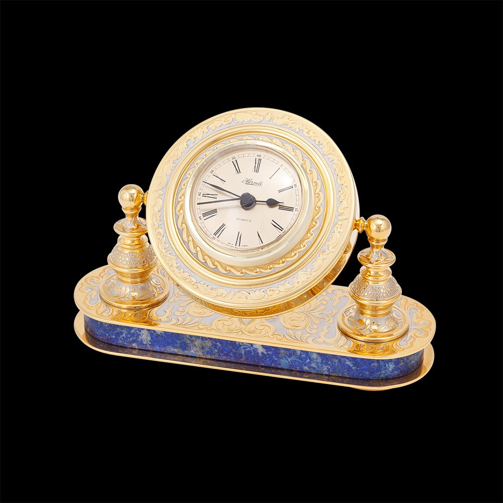 Handmade gold table clock based on natural lapis lazuli