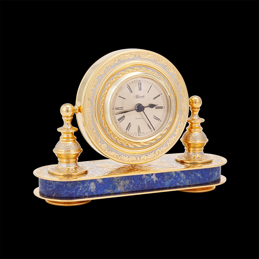 Gold office swivel watch based on natural lapis lazuli