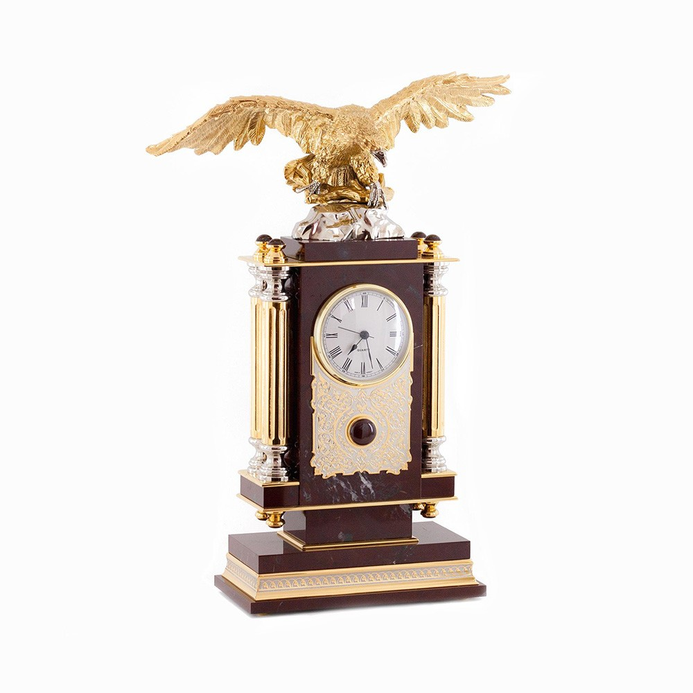 Russian metal artists create with love and imagination making ever new images unlike anything and perfecting the author's style. Table clock is a functional VIP gift designed to create a place of strength and attraction in the interior.