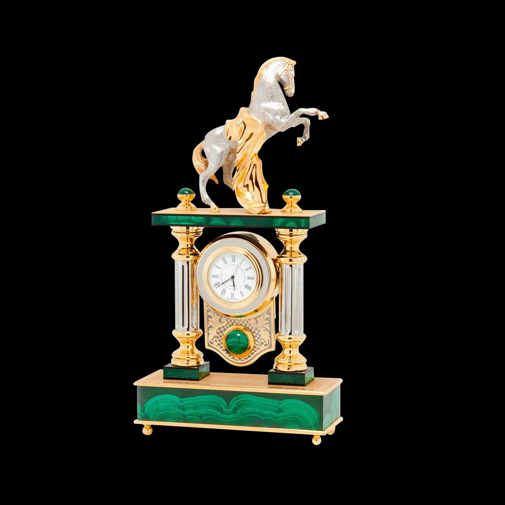 Malachite watch with a silver horse. The exquisite work of Russian masters.