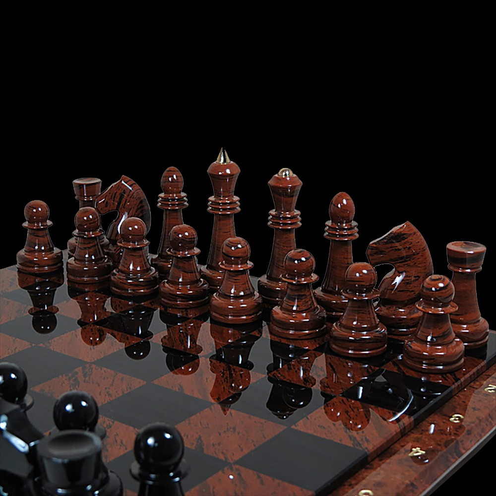 Ornamental volcanic glass chess is a great gift option for a leader or partner. They are made of high quality obsidian, so the service life is unlimited.