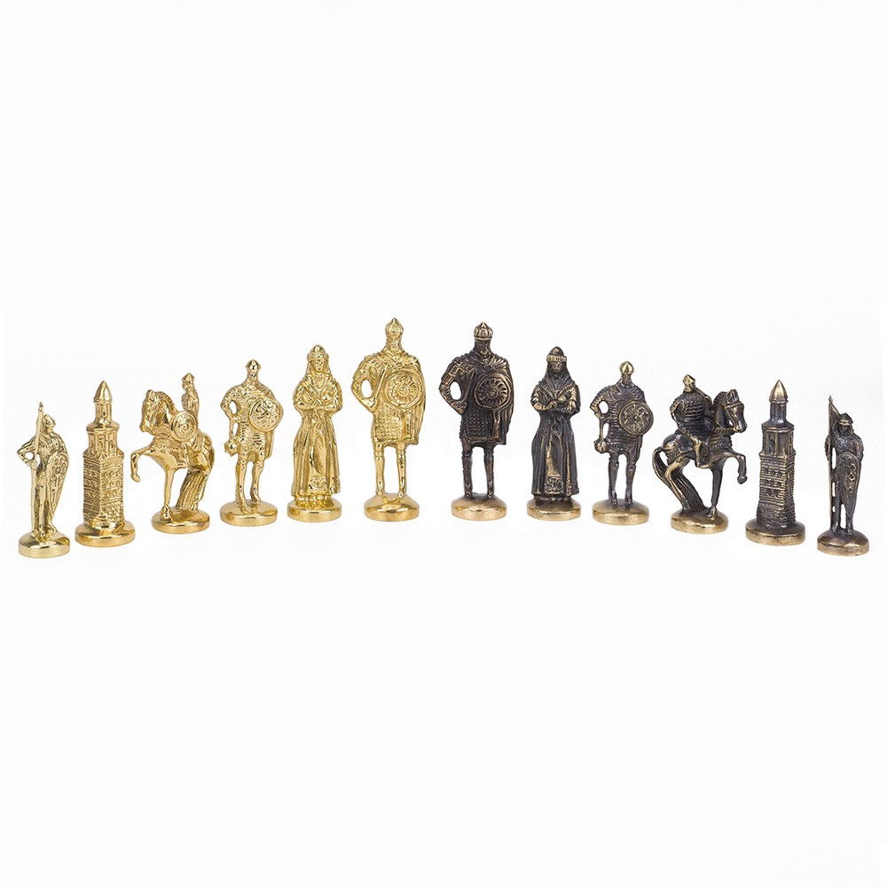 Game pieces are made using brass casting technique. The first brass casting technology appeared many millennia ago. Palace interiors were traditionally decorated with exquisite bronze and brass castings.
