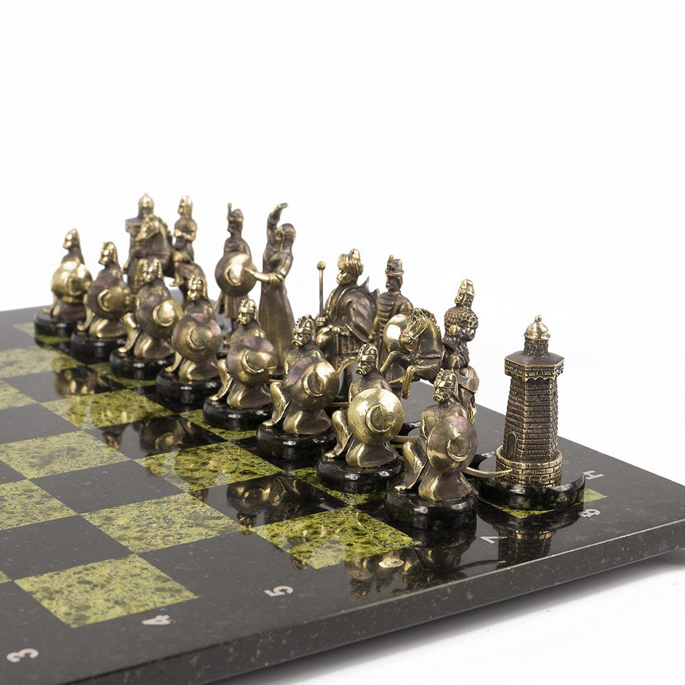 Handmade Turkish chess on a stone board made of a coil