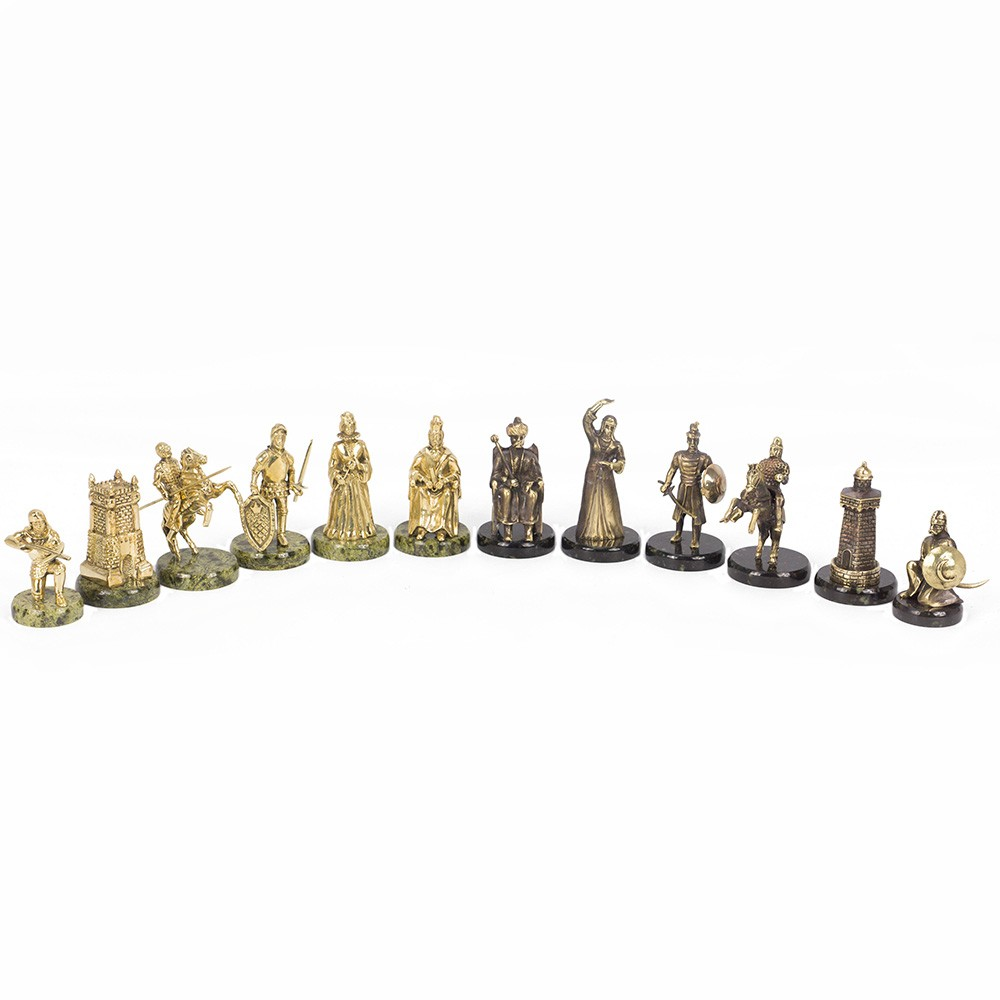 Turkish chess pieces. Tinted antique.