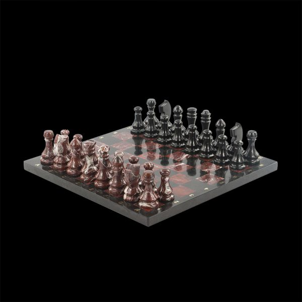 Jasper stone chess. Lovers of intellectual logic games will appreciate these magnificent handmade themed chess. The original chess was created under the sketch, from a natural stone – rich red jasper and black dolerite.