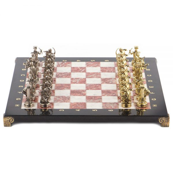 Chess is small – 36 x 36 cm. The pieces are cast from metal and plated with nickel and gold. When gilded, the pieces are less susceptible to aggressive external influences, oxidation and corrosion. The usual pieces of the king, knight and others are replaced by the sculptures of mythology of Ancient Greece, such as Zeus, centaurs.