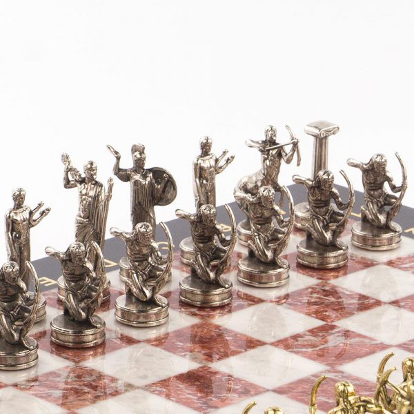 Silver chess pieces. Greek gods