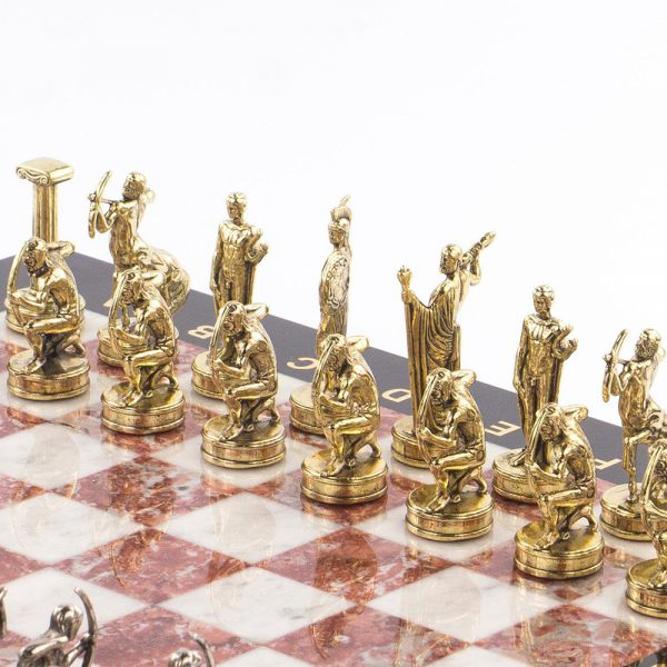 Golden chess pieces of the Greek gods.