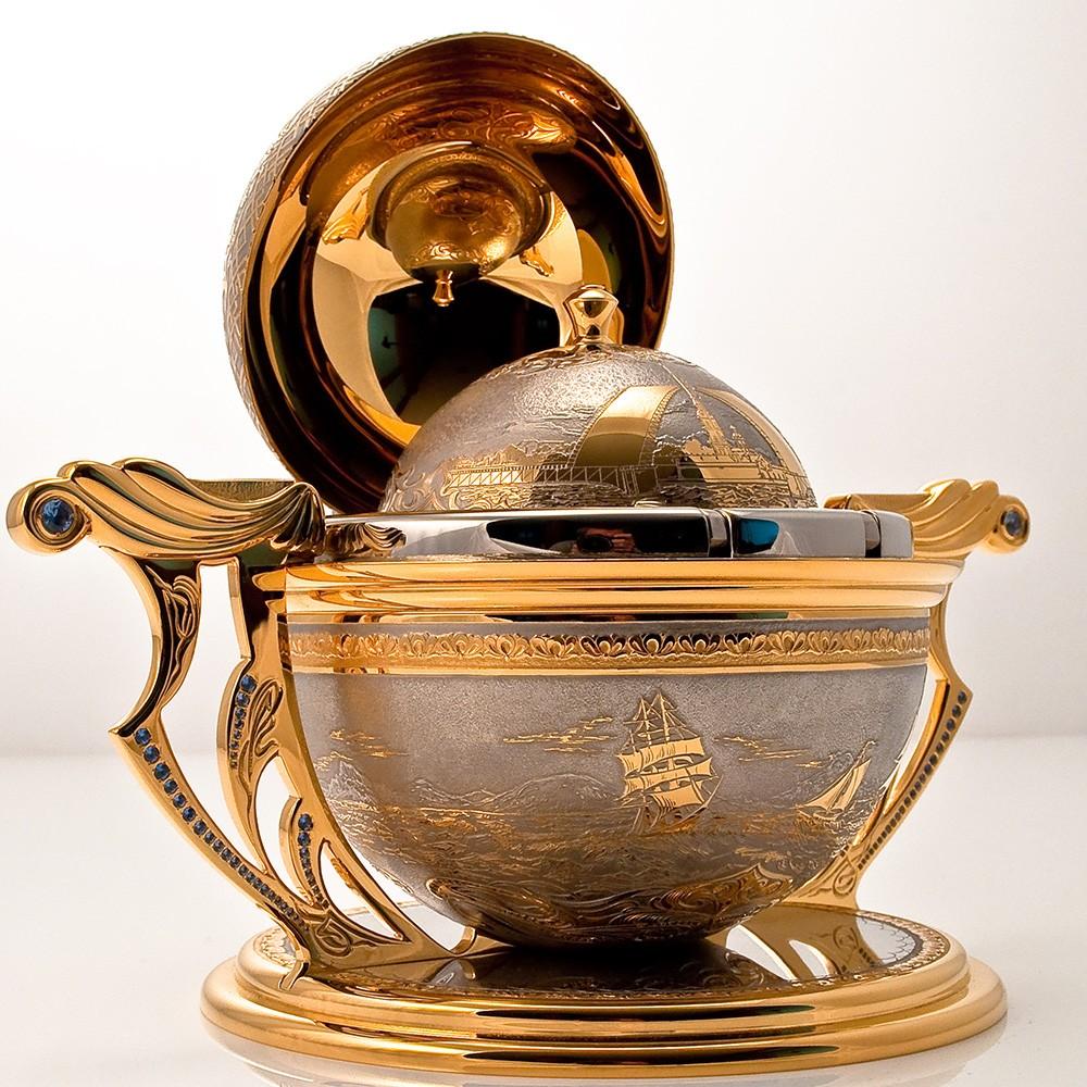 The Golden compass handmade. Luxury men's gift.