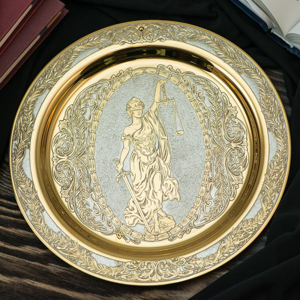 Luxurious dish with the image of the goddess Themis. Perfect as a gift and decorate the interior of the Cabinet