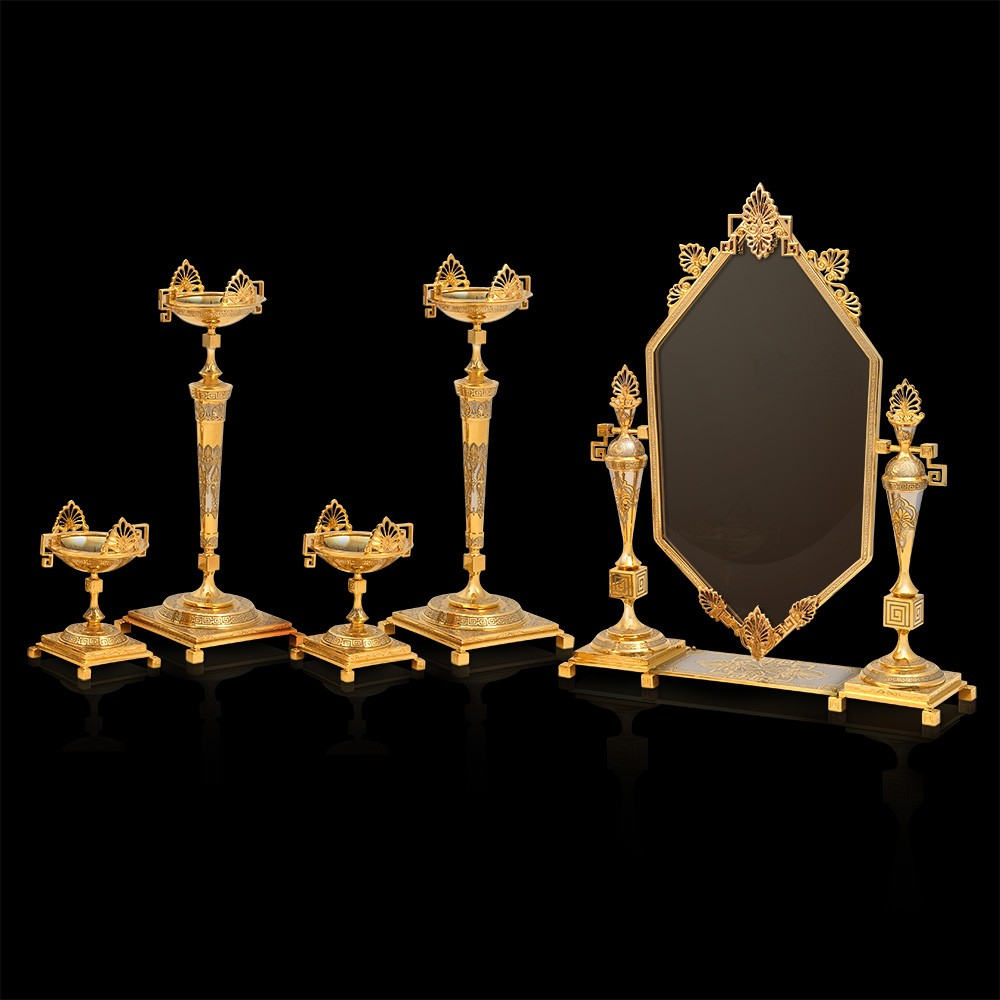 Gift set for girl. Set of four candelabra and mirror. Handmade by jewelers and engravers.