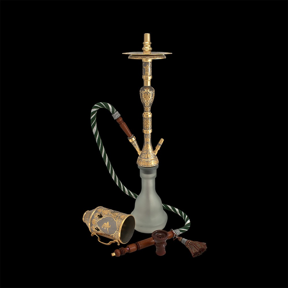 Hookah handmade with the image of a horse and a Falcon.