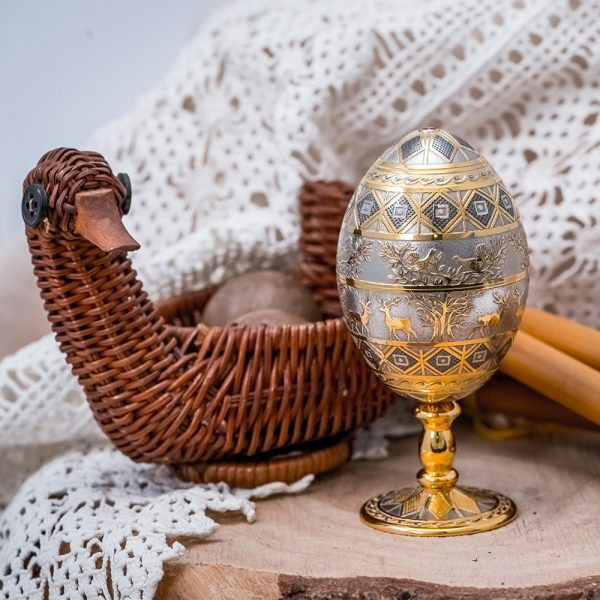 Handmade Easter egg decorated with engraved deer