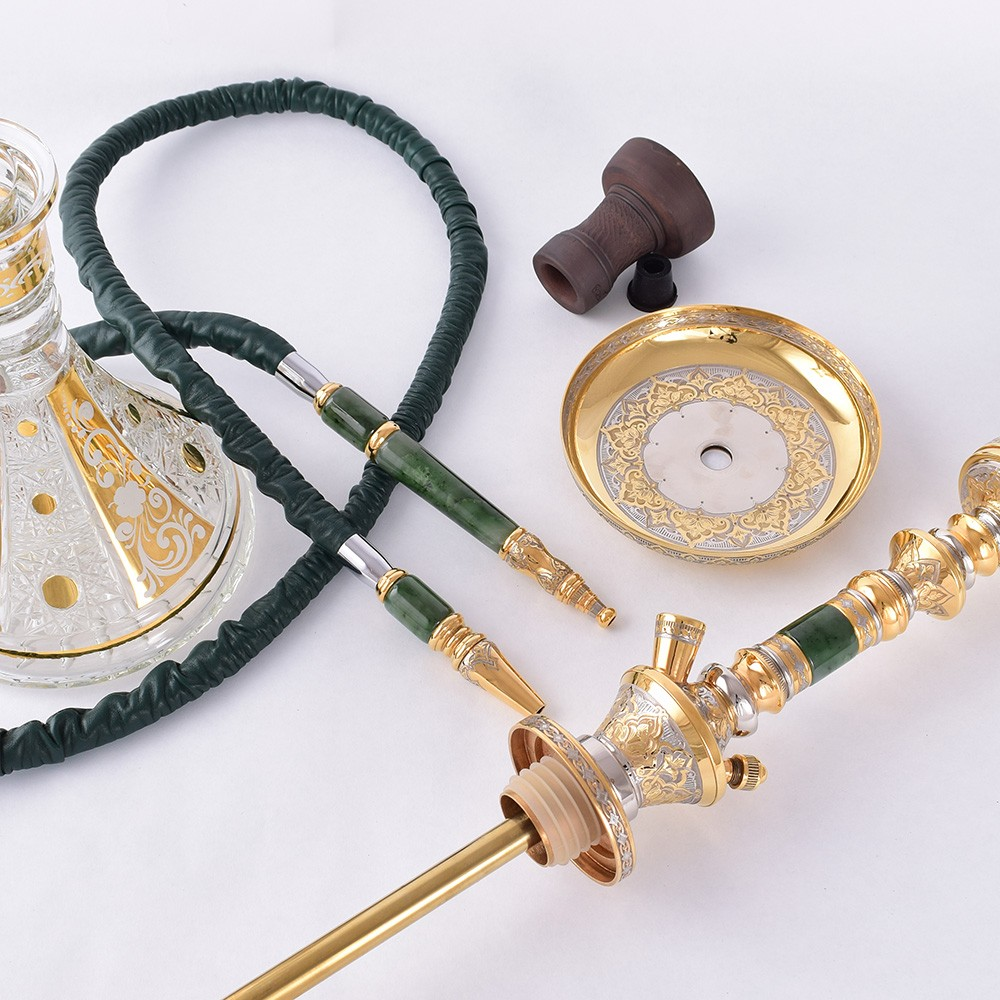 Disassembled hookah from jade and gold. Handwork