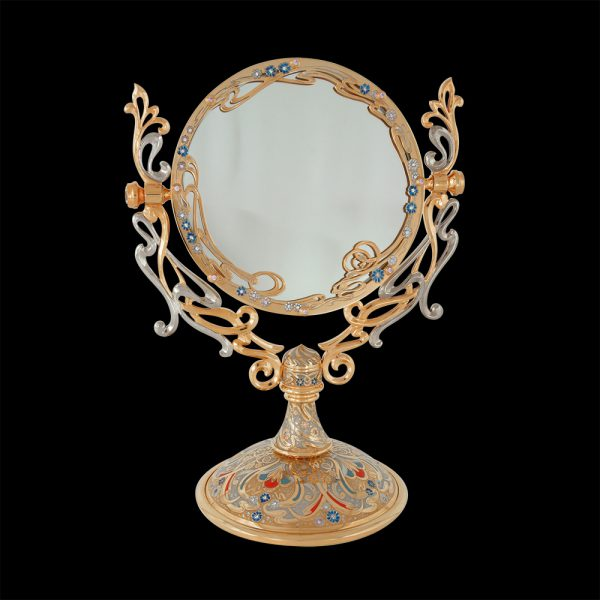 Handmade table mirror. Decorating with crystals, artist's drawings and a layer of gold. Lady's mirror.