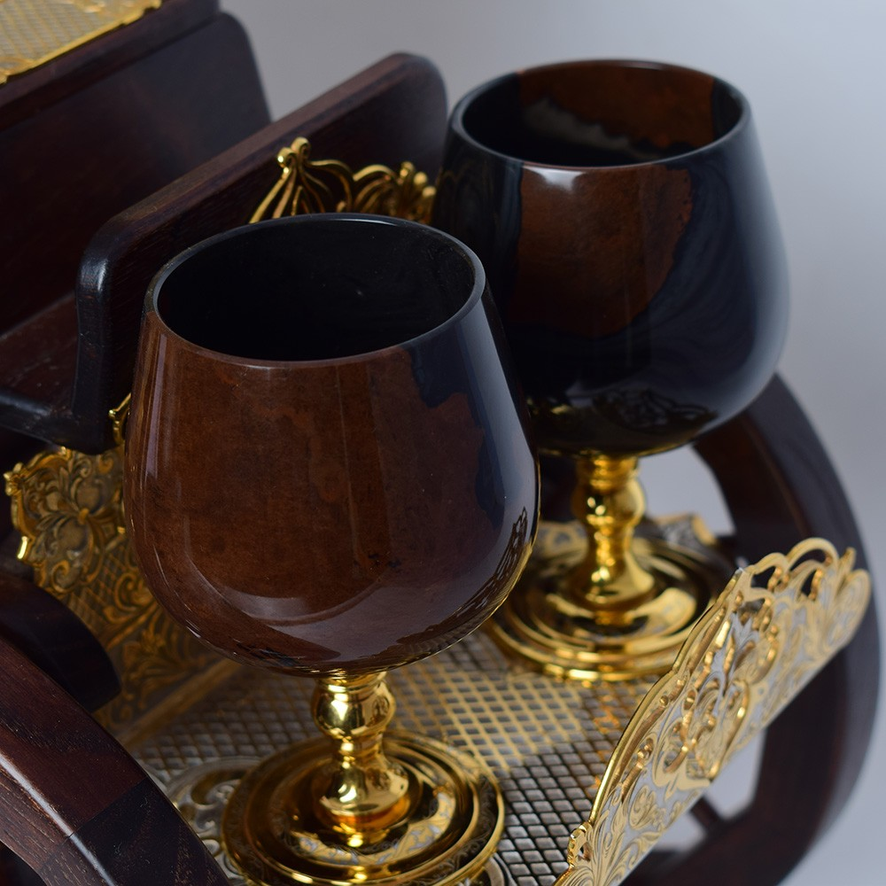 Handmade volcanic glass goblets on carriage