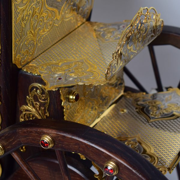 Jewelry metal elements of the carriage. Complex shapes, embossed, and solid gold plating