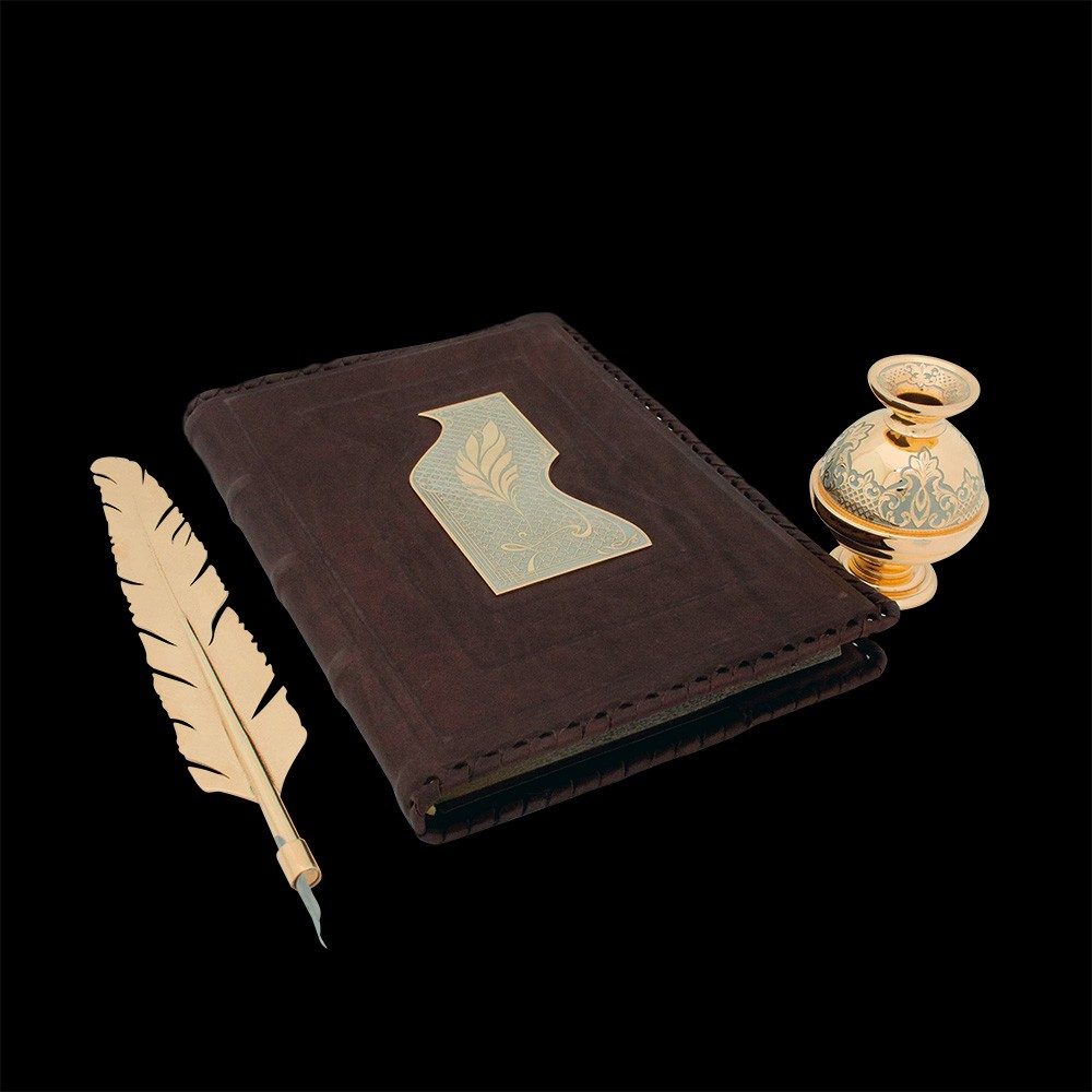 Gift diary with a leather cover and a gold pen