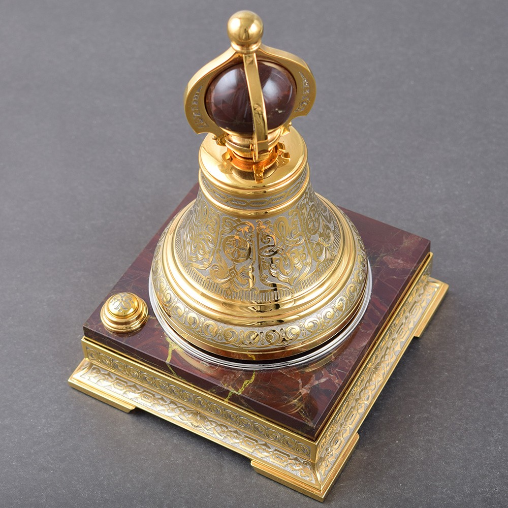 Golden Bell for Office on a Stone Base - Luxurious Office Supplies in the UAE