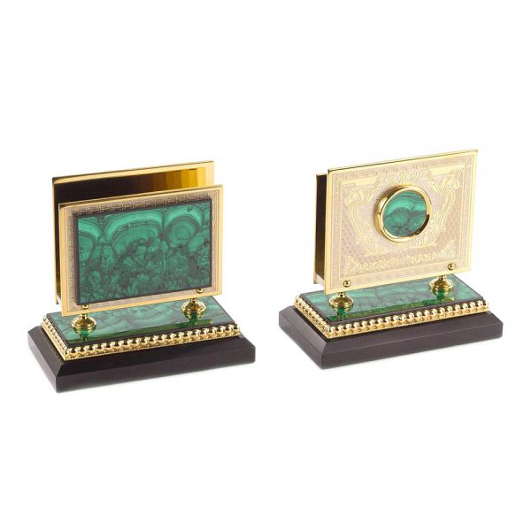 A pair of business card holders from a writing set. Made of green malachite stone and gold plated metal.