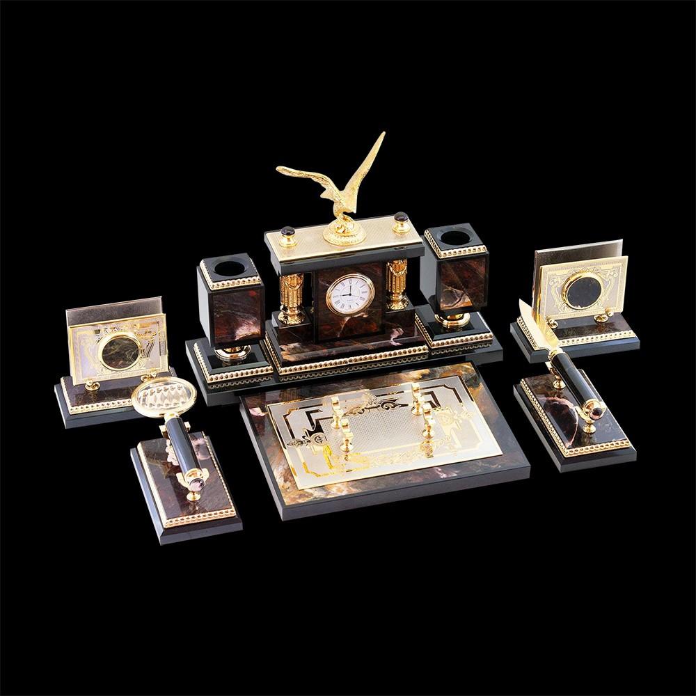 Office set of jasper for the president's desktop. Luxurious handmade corporate gifts.