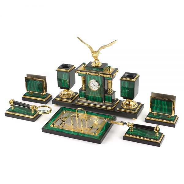 Large set for a handmade office desk. A functional gift for a business person. Golden eagle symbol of strength and will only emphasizes the character of the owner.
