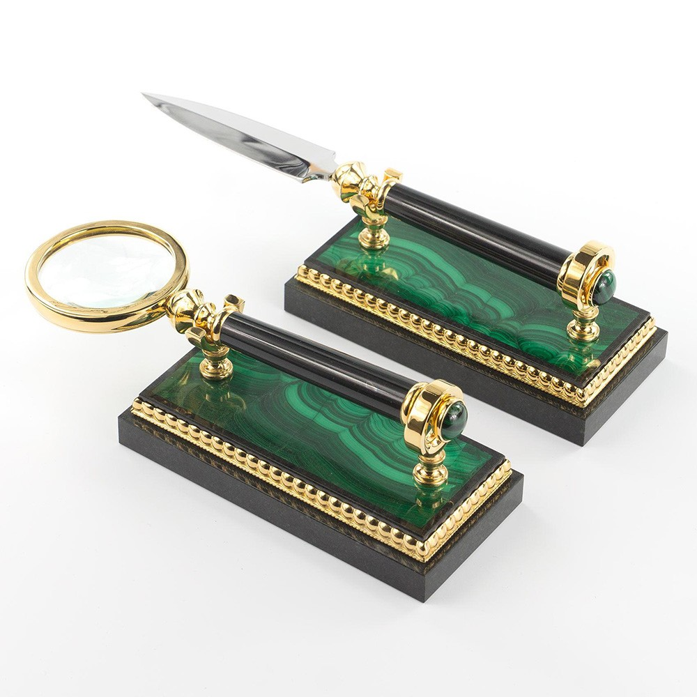 Classic desktop elements - Magnifier and handmade office knife. The items are flogged with gold and mounted on stone bases made of malachite