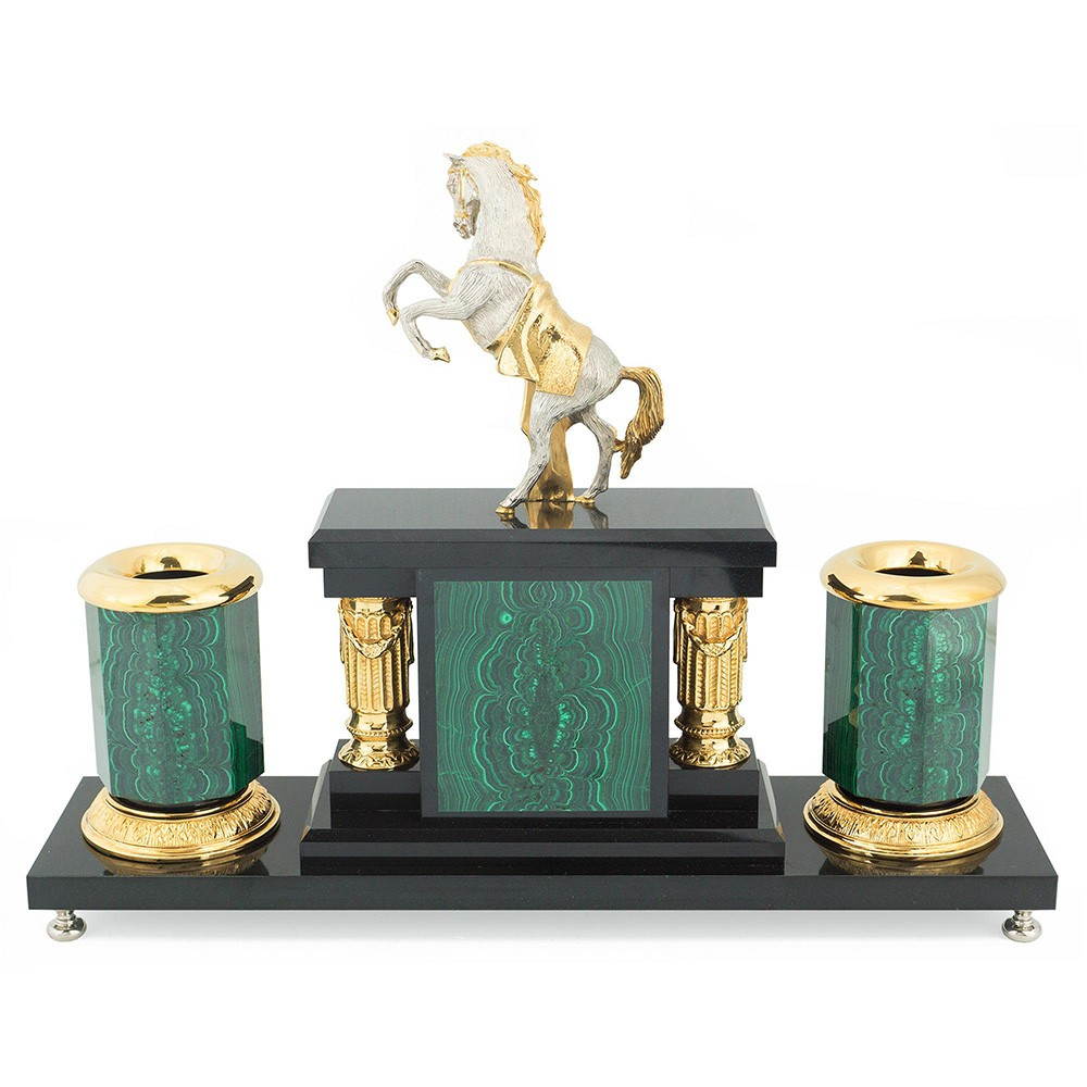 A small office desktop set with a silver horse on its hind legs. Handmade from natural stone, metal and gold.