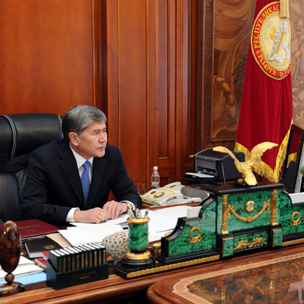 Office desk set from the masters of Chrysostom in the presidential office of the head of Kyrgyzstan