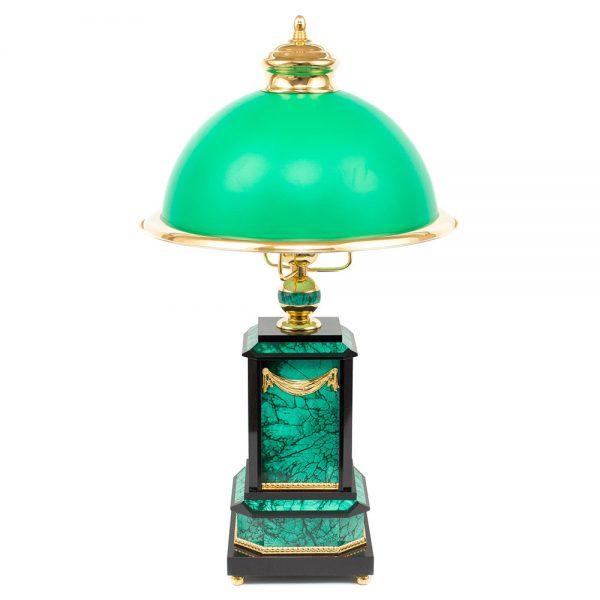 Cabinet green lamp. Handmade stone