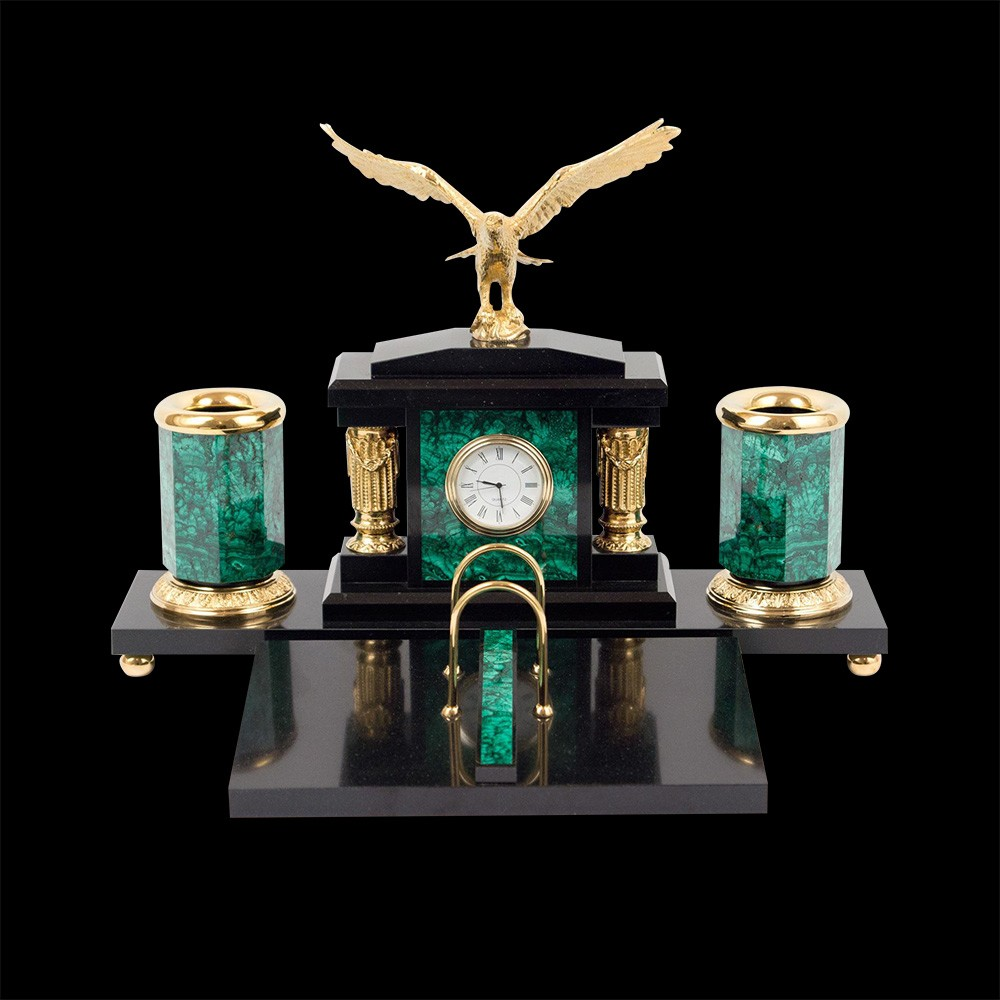 Small handmade stone set for your desktop. The set includes a round clock, calendar, two pencil boxes and a large golden eagle
