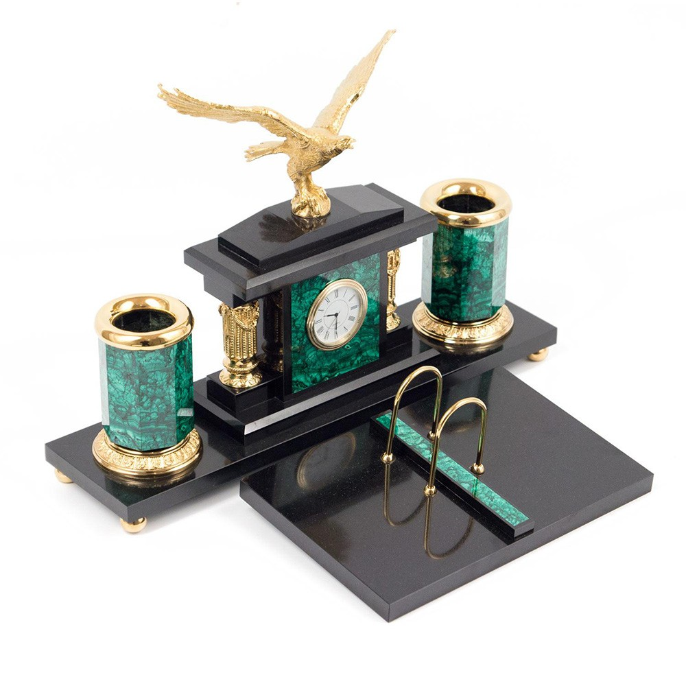 Small office set made of natural stone with a golden eagle. Great corporate gift option